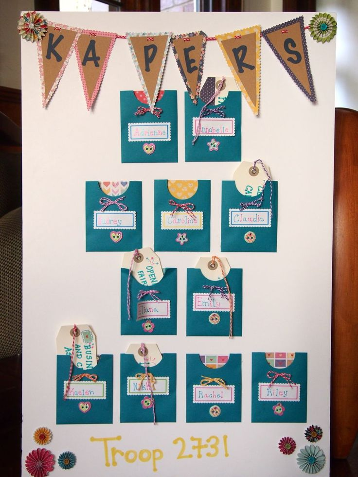 """GS Kaper Chart: I created this Kaper Chart for our Junior GS Troop. I used small envelopes, turned on their side and used a approx. 1 5/8"""" round die cut to create the half moon shape in order to slip the Kapers into the pocket of the girl the job is assigned to."""