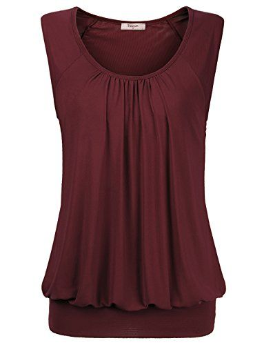 Summer Shirts for Women,Timeson Womens Round Neck Fashion Tunic Vest Tops Medium Wine - http://www.darrenblogs.com/2016/09/summer-shirts-for-womentimeson-womens-round-neck-fashion-tunic-vest-tops-medium-wine/