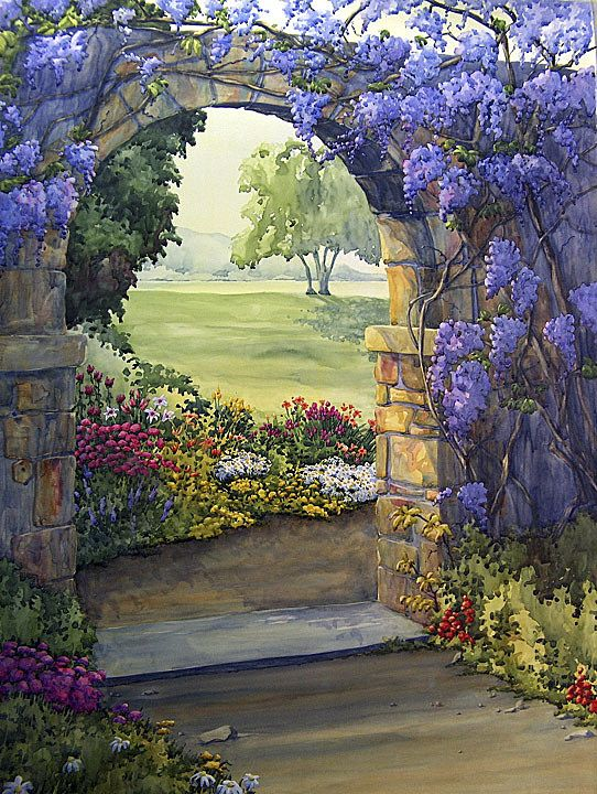 Wisteria Archway Floral Art Garden ~ Esther Maresso-Langlois