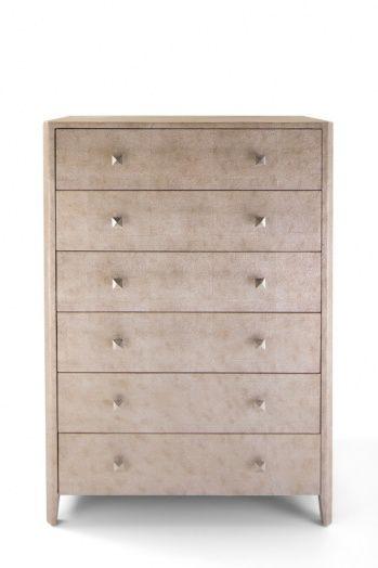 Faux shagreen skin 6-drawer tallboy, antique silver color.