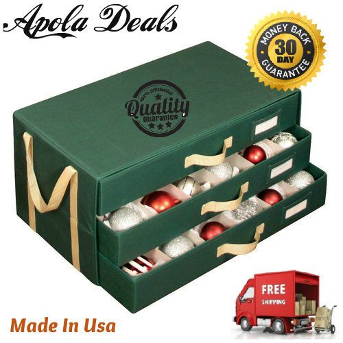 Holiday 54 Compartment 3 Drawer Ornament Organizer Chest   #DrawerOrnamentOrganizerChest