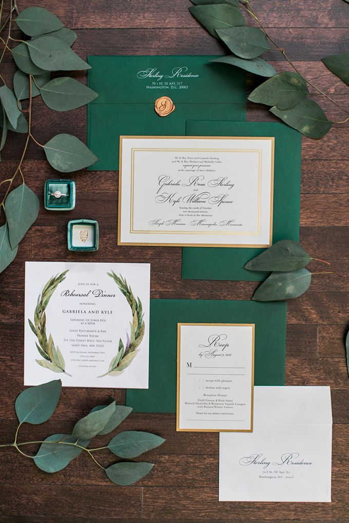 Hunter Green Wedding Stationery Emerald Forest Pop Of Gold Greenery Eucalyptus Elegant Glamorous Natural