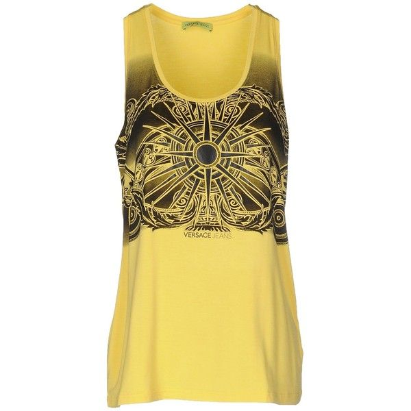 Versace Jeans Tank Top ($75) ❤ liked on Polyvore featuring tops, versace, yellow, yellow vest, sleeveless jersey, yellow jersey and vest waistcoat