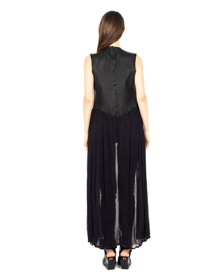B-USED LONG LEATHER WAISTCOAT S/S 2016 Long leather waistcoat deep neckline perforated upper part silk inserts without closure 100% Leather  Inserts: 100% SE
