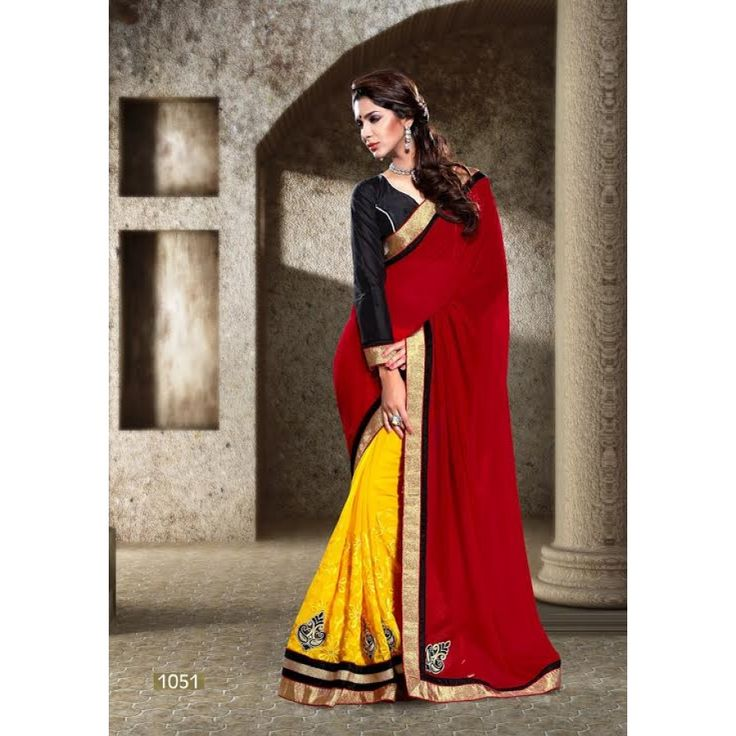 Designer Red And Yellow Georgeet And Silk Georgeet Saree - Buy Red And Yellow Georgeet And Silk Georgeet Saree Online at Best Prices in India | Vendorvilla.com at just Rs.2399/- on www.vendorvilla.com. Cash on Delivery, Easy Returns, Lowest Price.