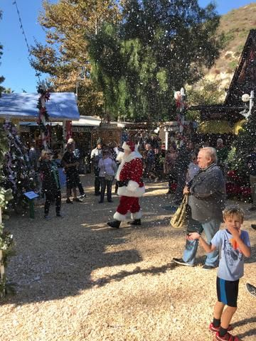 Santa Siting at Winter Fantasy at Sawdust Art Festival in Laguna Beach, Ca