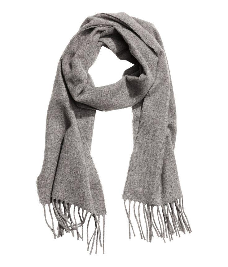 Wollen sjaal | Grijs gemêleerd | Heren | H&M NL