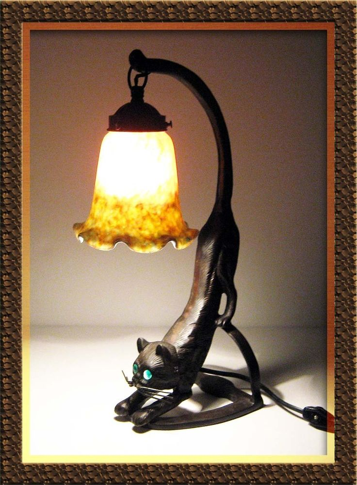 Art Nouveau Iron Cat Lamp Stained Glass And Glass Eyes