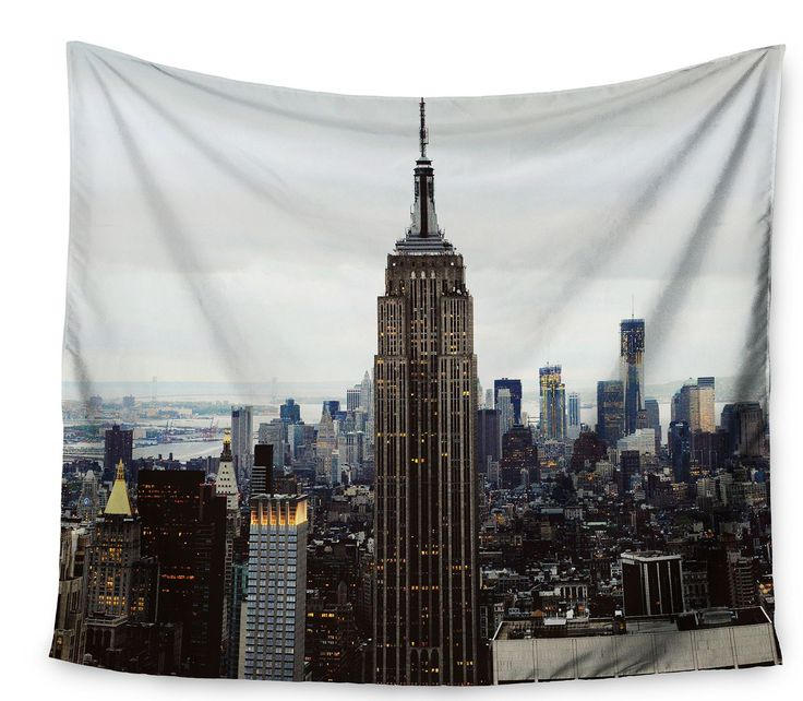 Features: -Machine wash, gentle cycle, line dry or tumble dry low to no heat. -Made in the USA. Product Type: -Tapestry and Wall Hanging. Subject: -Cities and countries. Color: -Gray/Blue. Size:
