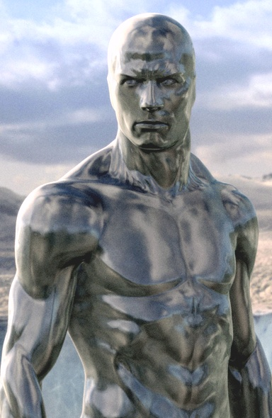 """Scene of the Silver Surfer from the """"Fantastic Four: Rise of the Silver Surfer"""" - 2007."""