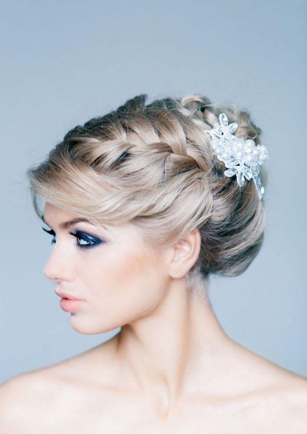 Flechtfrisur formal zur Hochzeit-Haarschmuck Broschen mit Steinen