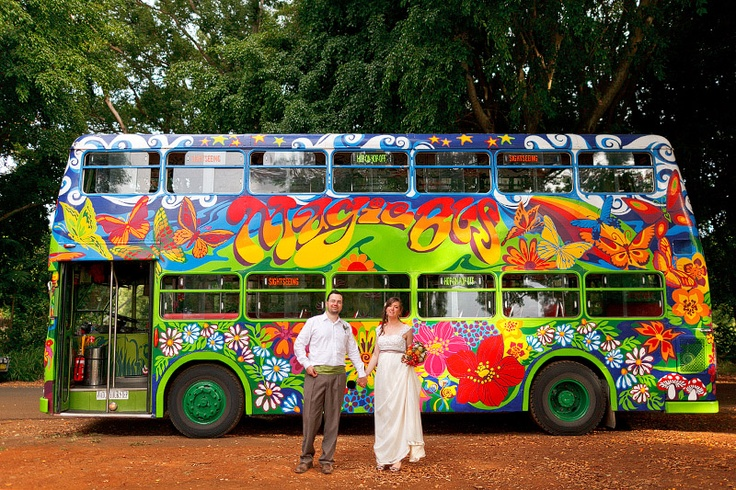 Roll Up to the magical wedding bus. Byron Bay Wedding