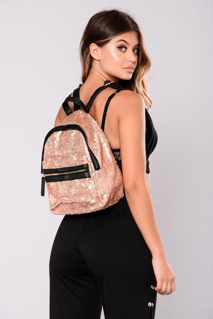 Imani Sequin Backpack - Khaki