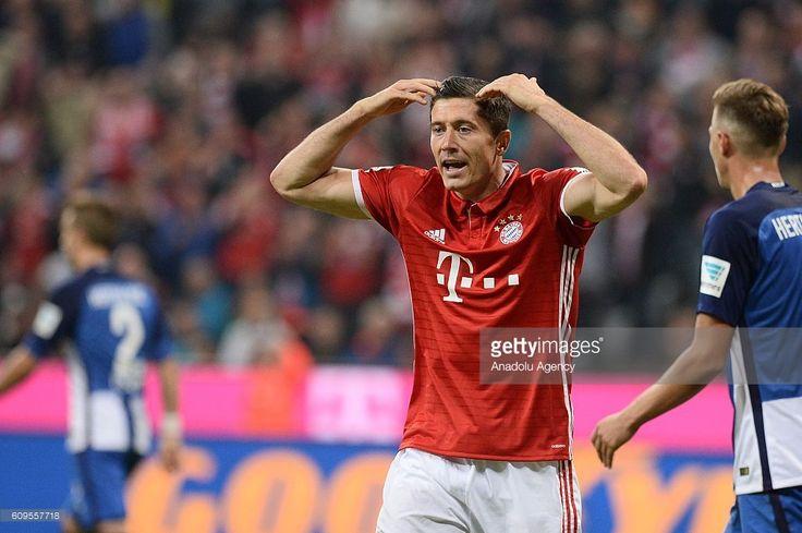 Robert Lewandowski of Bayern Munich reacts during the Bundesliga soccer match between Bayern Munich and Hertha BSC Berlin at the Allianz Arena in Munich, Germany on September 21, 2016.