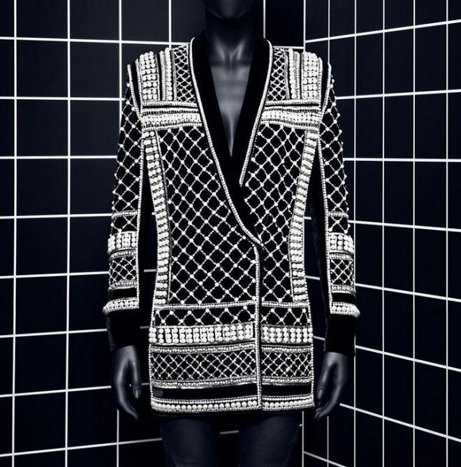 Balmain x H&M pearl-detailed blazer <3