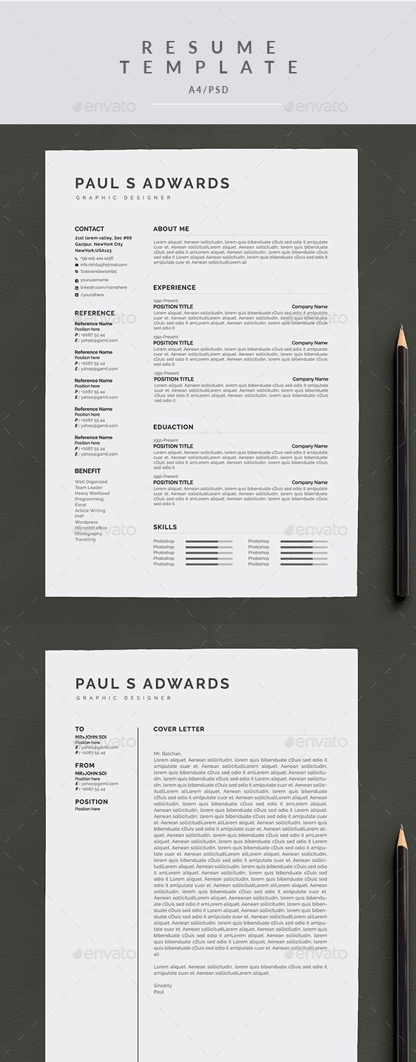 Resume u0026 Cover Letter A4 Template PSD