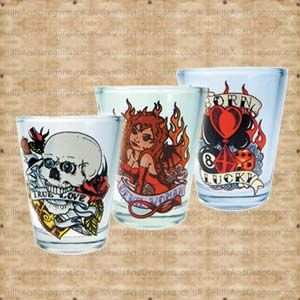 A set of 3 shot glasses featuring tattoo art by Big Pete. A skull clenching in his teeth True Love, a horned woman surrounded by flames labeled Devil Woman and gaming symbols quoting Born Lucky. The Tattoo Shot Glasses brought to Skulls and Dragons by Nemesis Now.    Weight : 200.00g    Made from glass £4.99
