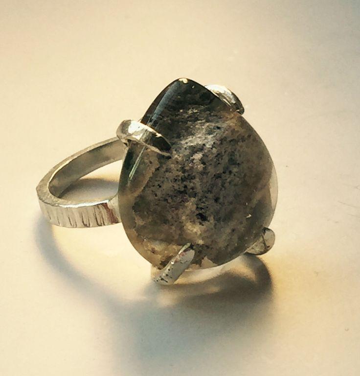 Silver ring with phantom quartz by kochiokada on Etsy