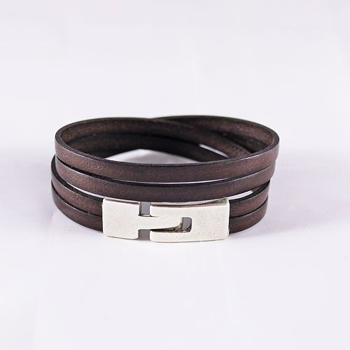 Bracelet cuir homme - cuir marron foncé et fermoir en argent- 2 tours de poignet