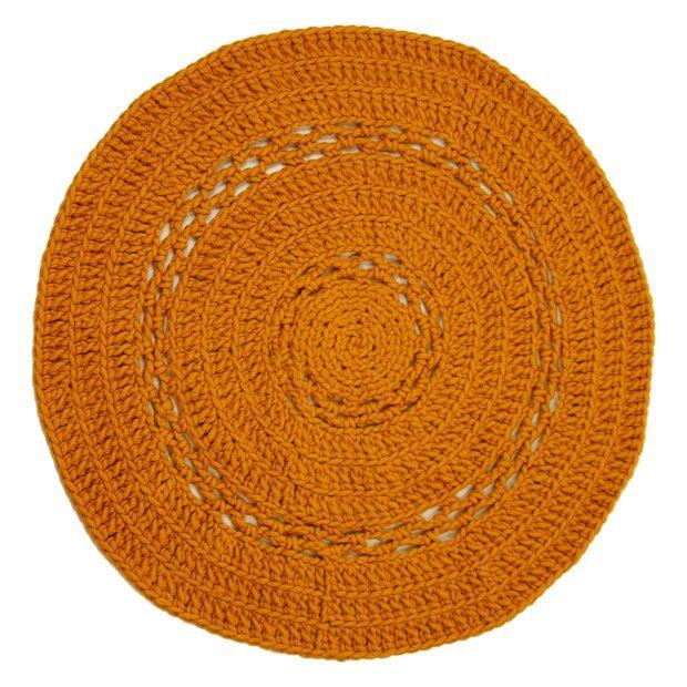 Naco Peony Vloerkleed Wol Gehaakt Oker - 150 cm - afbeelding 1