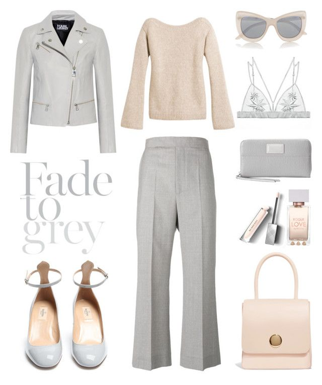 """Unbenannt #920"" by fashionlandscape ❤ liked on Polyvore featuring Mansur Gavriel, CÉLINE, Burberry, Karl Lagerfeld, White House Black Market, Le Specs, Fleur of England, Juicy Couture and Valentino"