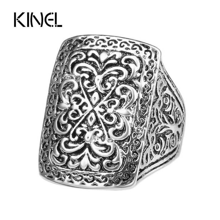 Luxious Fantastic Big Ring Silver Plated Vintage Look Indian Jewelry Punk Rock Men Rings For Women