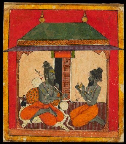 Style: Pahari; Type: Deities and ragas; Title: 'Ascetics making music, depicting the musical mode Kedara Raga', Arki, late 17th century