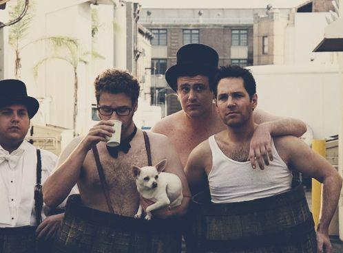 Jonah Hill, Seth Rogen, Jason Segel, and Paul Rudd....funny picture, love me some Paul Rudd!!!