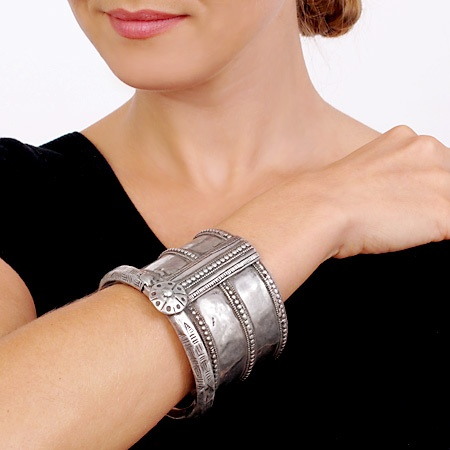 Old World Antique Silver Indian Armlet Cuff Bracelet, Handcarved and Intricate from JeGem.com