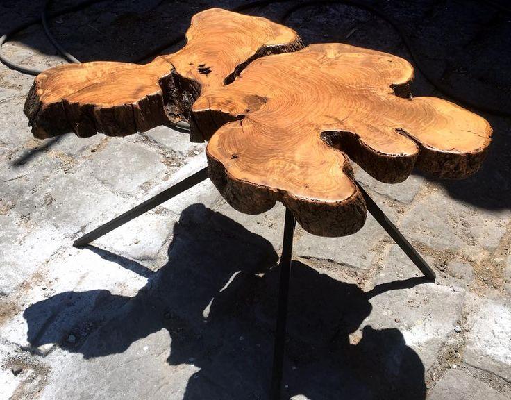 Zeytin ağacı diliminden Mercan Kütük Sehpa