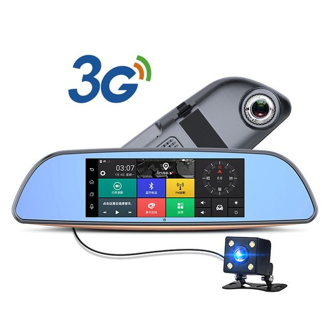 3G Auto DVR + Android 5.0 Bluetooth GPS FM Transmitter Dual Lens Rückspiegel Kamera + FHD1080P Camara Automovil WiFi 7 inch Touch