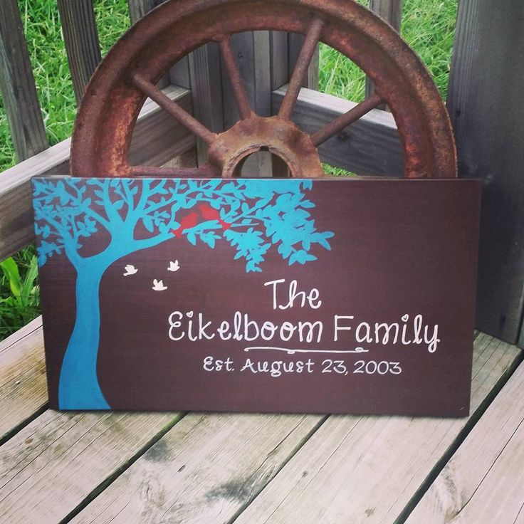 Family Name Sign - Personalized Wedding Gift - Wooden Last Name Decor - Family Bird Sign - Birds In Tree Wall Decor - Painted Name Sign - pinned by pin4etsy.com