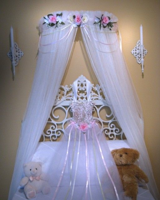 Princess Bed Canopy Girl Crown Pelmet Upholstered Awning: BED Canopy PRINCESS Naomi Pink Ivory Cream Girls Valance