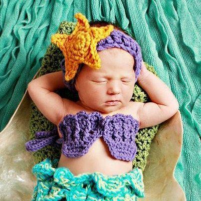 Baby Meerjungfrau Seestern Stirnband Muscheln Bikini Top – häkeln Hut Outfit Ne… – Hutmodelle