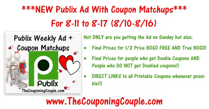 ***HERE YOU GO ~ HELP US GET 1,000 SHARE BY SHARING THIS POST :-) *** Please Use the SHARE button below the Picture and then leave a comment and let us know you shared it + it keeps it bumped in the GROUP! THANKS! Click the Picture below to check out the NEW Publix Ad with Coupon Matchups for 8-11 to 8-17-16 (8/10-8/16 for those whose ad begins on Wed). ► http://www.thecouponingcouple.com/publix-ad-with-coupon-matchups-for-8-11-to-8-17-16/  Here is the Publix Ad with Co