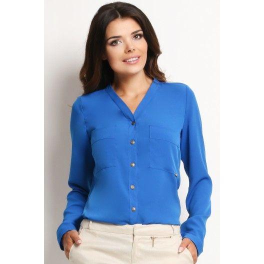 Formální dámská volnější košile modré barvy - manozo.cz