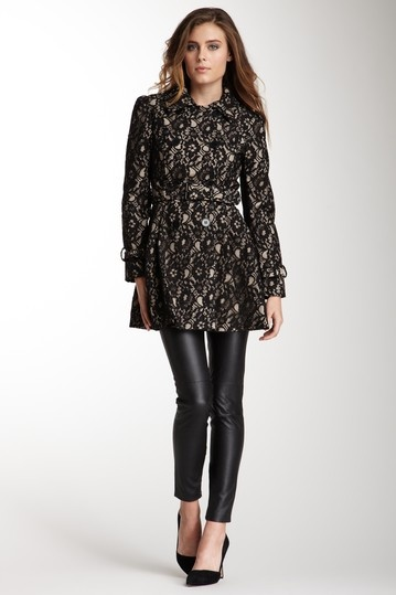 Blanc noir lace coat over dress