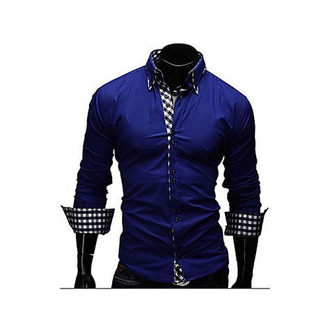 a42d8a888f721f Men's Daily Work Business Cotton Slim Shirt - Solid Colored Spread Collar  Navy Blue L / Long Sleeve / Spring / Fall 2019 - US $13.85