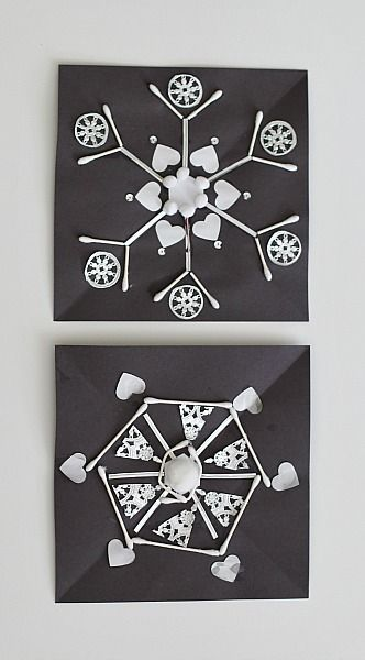 Beautiful snowflakes!  Would make a great math tie in for a lesson on symmetry.