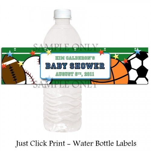 All Star Sports Baby Boy Shower Water Bottle Labels - Printable Uprint
