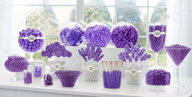 Purple Candy Buffet Supplies - Purple Candy & Containers