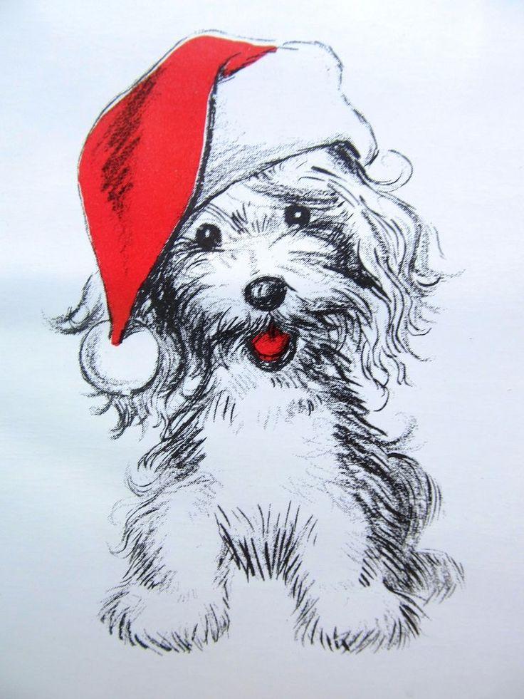 Vintage Christmas Card 1960s MOD B&W Puppy Dog w/ Red Santa Hat & Tongue