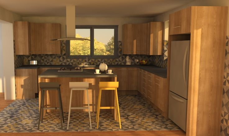 Kitchen Design On Behance Visuals: SketchUp + SU Podium Kitchen Island +  Breakfast Bar Pophamdesign, Propeller Tiles (grey Yellow)