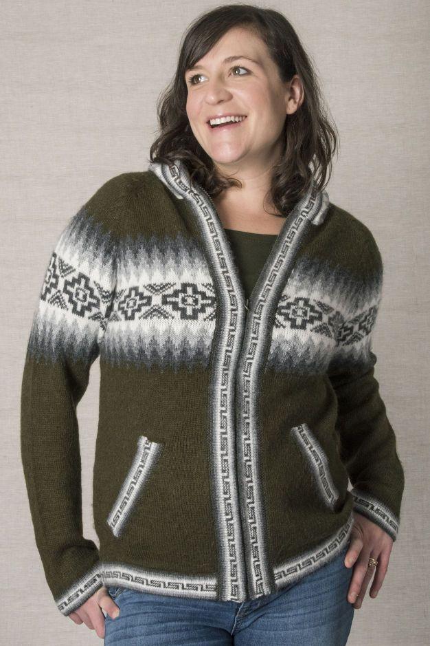 Zip Up Hooded Inca Sweater
