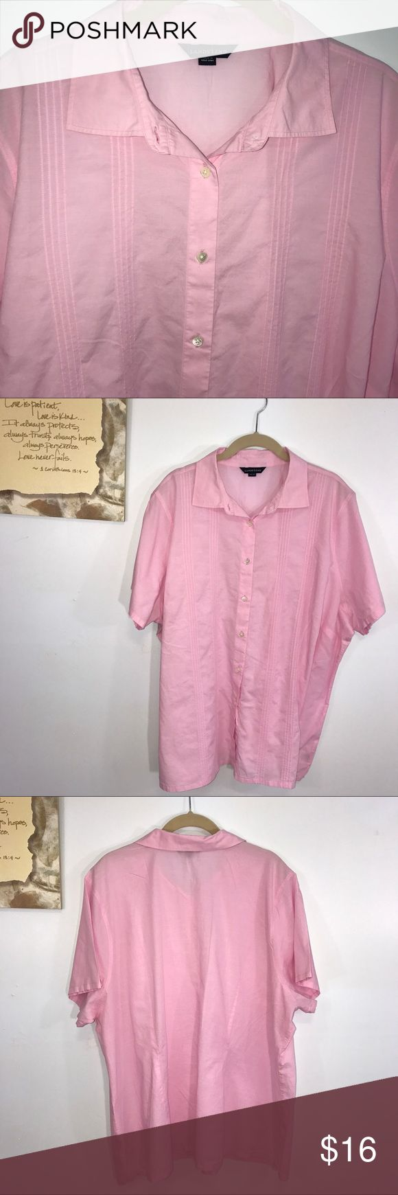 "Lands' End Pink Button-up Short Sleeve Shirt 3X Lands' End pink button-up Short Sleeve Shirt. Lying flat, approximate measurements are: bust 28.5""; waist 28""; hip 28.5""; length 28.5"". (K01-04)    🌼No holes, piling or stains. Items stored in smoke free, pet free, perfume free environment. No trades or modeling. Same or next day shipping.  Save by bundling. All offers should be submitted with the offer button. Lands' End Tops"