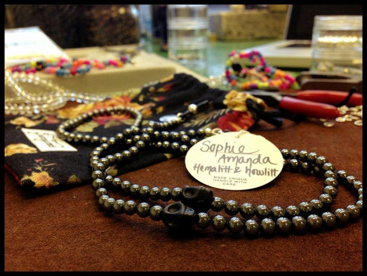 Sophie Amanda just dropped by to pick up her Grannycords - a duo of hematite and howlite.  Classy with a hint of punk, just like her.