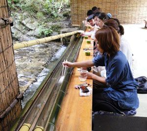 At Hirobun in Kyoto diners have to snare their fresh nagashi somen (cold, thin wheat noodles) with chopsticks by the mouthful as they are carried along by a stream of fresh water running down a half-pipe of bamboo.