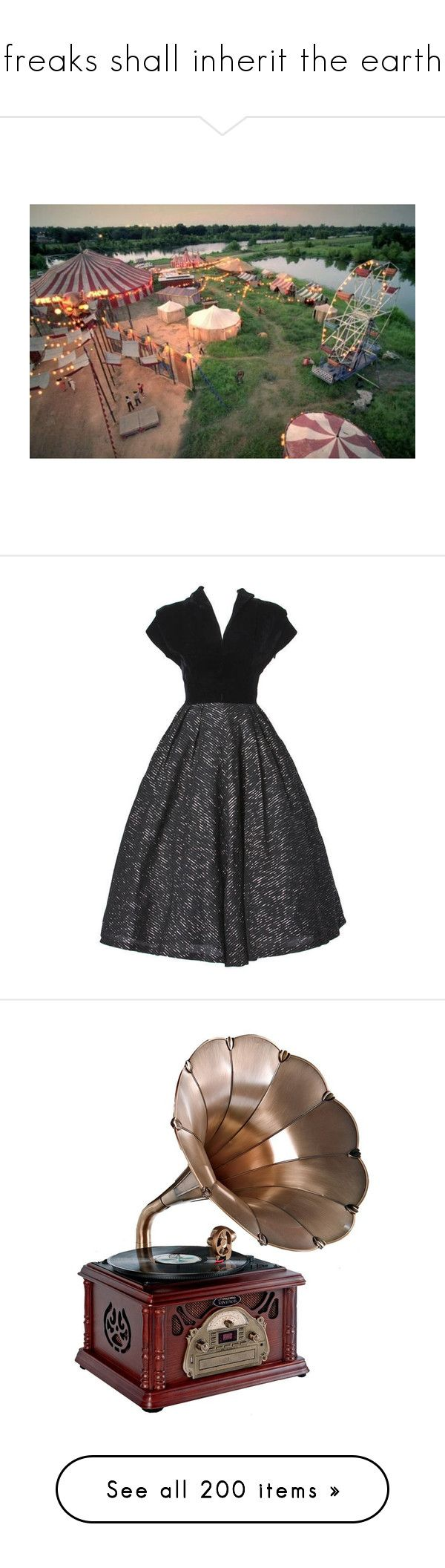 """""""freaks shall inherit the earth"""" by princesstwi ❤ liked on Polyvore featuring dresses, vintage, 1940s, evening dresses, metallic gold dress, metallic cocktail dress, vintage dresses, vintage cocktail dresses, preowned dresses and music"""