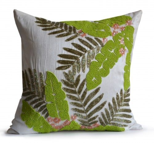 Throw pillows cover on ivory faux silk with tropical leaves. This decorative pillow cover has textured leaves in detailed bead work with soft pink bloom. Use this cushion cover to pop the color, welco