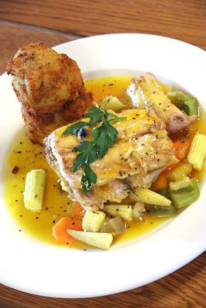 """""""Just another East Coast Speciality!  A traditional Oven Bake Snoek, basted with an apricot and butter sauce, served with sweet potato cakes and vegetables of the day."""""""